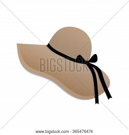Beige Summer Hat Wide Brim Isolated On White Background