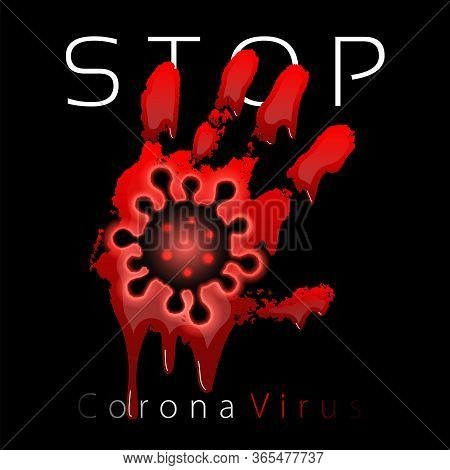 Coronavirus 2019-ncov. Corona Virus 3d Icon. Blood Hand Sign Isolated On Black Background. Pathogen