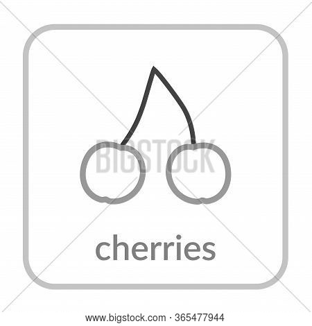 Sweet Cherry Icon. Merry, Outline Flat Berry Sign, Isolated White Background. Symbol Health Nutritio