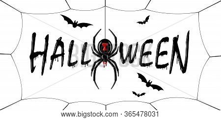Happy Halloween Card. Drip Text, Spider, Web Isolated White Background. Greeting Design Banner, Hall