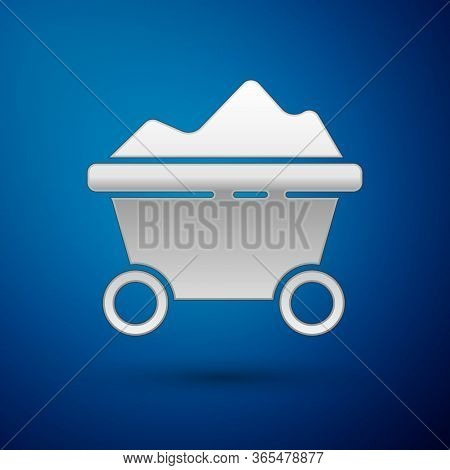Silver Coal Mine Trolley Icon Isolated On Blue Background. Factory Coal Mine Trolley. Vector Illustr