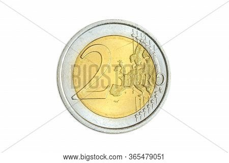 One Coin Of Two Euro Close-up With European Map Symbol Of United Europe. Isolated On White Studio Ba