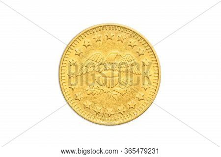 Coin Meter Token With American Golden With Eagle And Stars Of America, Close Up Of The Tail Side Wit