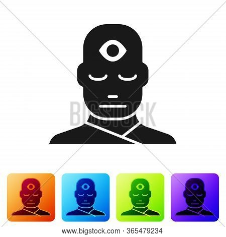 Black Man With Third Eye Icon Isolated On White Background. The Concept Of Meditation, Vision Of Ene