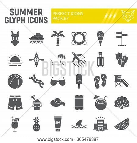 Summer Glyph Icon Set, Travel Symbols Collection, Vector Sketches, Logo Illustrations, Beach Icons,