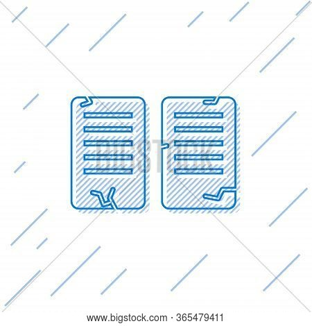 Blue Line The Commandments Icon Isolated On White Background. Gods Law Concept. Vector Illustration