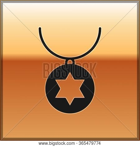 Black Star Of David Necklace On Chain Icon Isolated On Gold Background. Jewish Religion. Symbol Of I