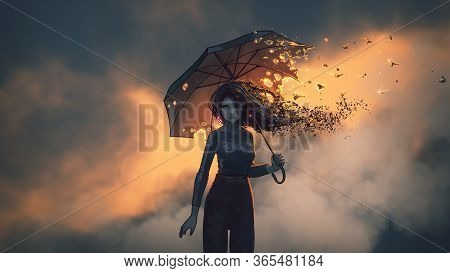 Mysterious Woman Holds The Burning Umbrella Standing Against Sunset Sky Background, Digital Art Styl