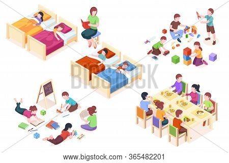 Set Of Isolated Illustration Of Children S Kindergarten Activity. Kids At Sleep, Child At Dining Tab