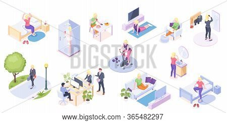 Woman Daily Life, Home Routine And Work, Everyday Activity Vector Isometric Icons. Woman Daily Life