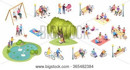 People In Park Leisure And Outdoor Activity, Family Picnic And Summer Rest, Vector Isometric Isolate