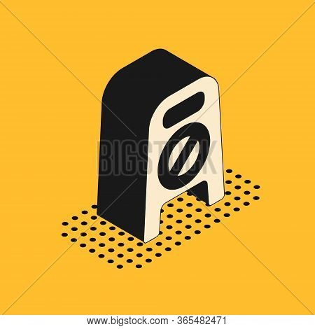 Isometric Wet Floor And Cleaning In Progress Icon Isolated On Yellow Background. Cleaning Service Co