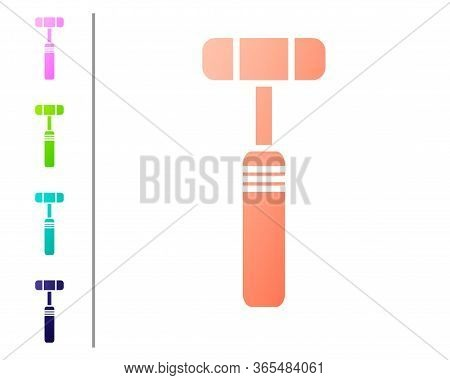 Coral Neurology Reflex Hammer Icon Isolated On White Background. Set Color Icons. Vector Illustratio