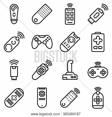 Remote Control Icons Set. Outline Set Of Remote Control Vector Icons For Web Design Isolated On Whit
