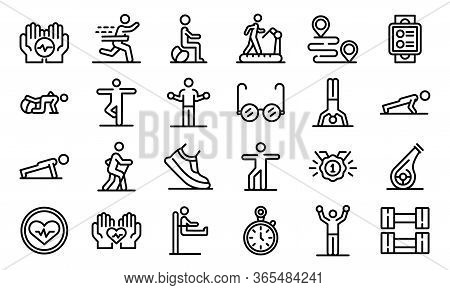 Workout Seniors Icons Set. Outline Set Of Workout Seniors Vector Icons For Web Design Isolated On Wh