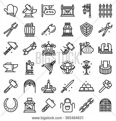Blacksmith Icons Set. Outline Set Of Blacksmith Vector Icons For Web Design Isolated On White Backgr