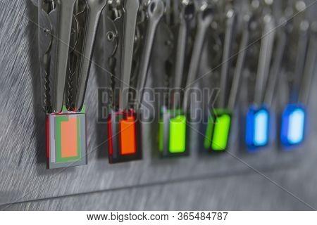 Small Rgb Oled Displays Is Lighting On A Probe Station. Lighting Display Technology.