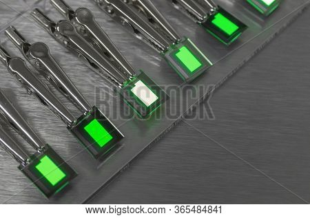 Small Creen Color Oled Displays Is Lighting On A Probe Station. Lighting Display Technology.