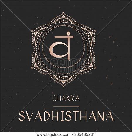 Vector Illustration With Gold Symbol Chakra Svadhishana - Sacral Chakra On Dark Background. Round Ma