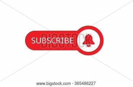 Subscribe Banner Template. Red Subscribe Button With Red Bell Icon Isolated