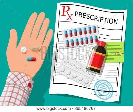 Hand, Prescription Rx, Pills, Capsules For Illness And Pain Treatment. Taking Medication Concept. Me