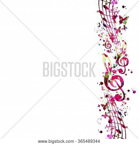 Colorful Music Promotional Poster With G-clef And Music Notes Isolated Vector Illustration. Artistic