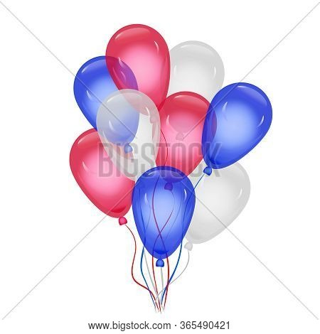Balloons In American Flag Colors Isolated On White Background. Helium Balloons Composition In Nation