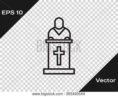 Black Line Church Pastor Preaching Icon Isolated On Transparent Background. Vector Illustration