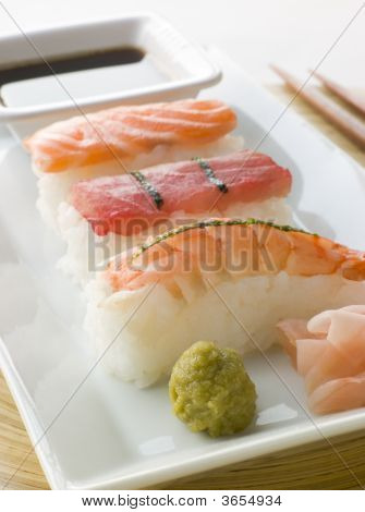 Hand Molded Seafood Sushi Wasabi Soy Sauce And Sushi Ginger
