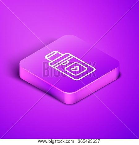 Isometric Line Cooler Box For Human Organs Transportation Icon Isolated On Purple Background. Organ