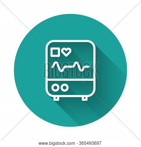 White Line Computer Monitor With Cardiogram Icon Isolated With Long Shadow. Monitoring Icon. Ecg Mon