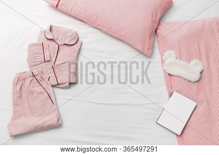 Sleepwear For Slumber. Pink Women Pajama From Cotton Cloth With Stripes, Pillow,  Fluffy Sleeping Ey