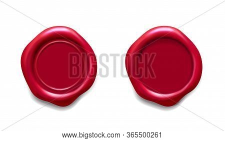 Red Wax Seal. Realistic Medieval Certificate Stamp, Rubber Quality Logo Seal