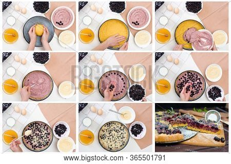 Step-by-step Collage Of Making A Pie With Black Currant And Shortbread Dough
