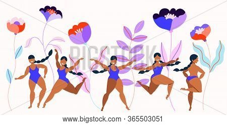 Girls In Swimsuits And Giant Flowers. Spring, Summer Garden Flowers And Women Characters.modern Hand