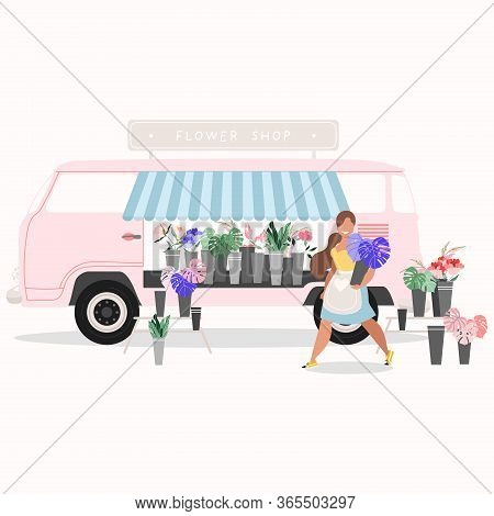 Flower Shop Van Isolated. Flower Shop Concept. Pink Van Selling Flowers. Smiling Female Florist Hold