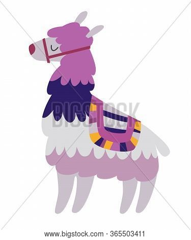 Mexican Lama Vector Illustration. Drawing Cartoon Lama Isolation On White Background