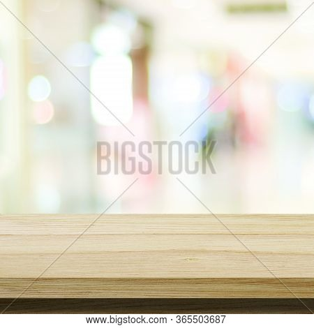 Wood Table Background And Blur Background, Empty Wooden Counter, Shelf Surface Over Blurred Abstract