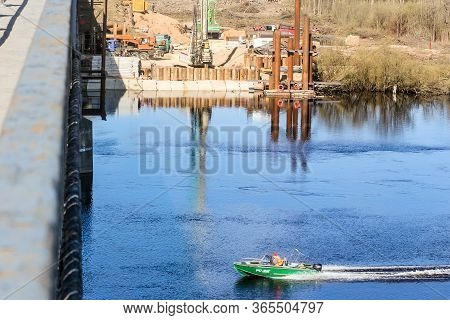 Kirishi, Russia - 8 May, Start Of Construction Of A New Bridge Over The River, 8 May, 2020. Start Of