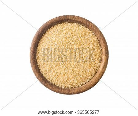 Heap Of Cane Sugar Isolated On White Background. Top View. Heap Of Brown Sugar On White Background.