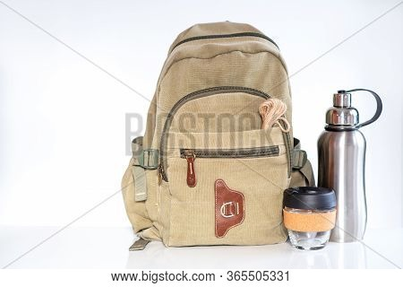 Zero Waste Travel. Backpack With Stainless Steel Plastic Free Reusable Water Bottle, Reusable Glass
