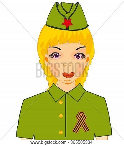 Girl In Military Form With Symbol Of The Victory George Ribbon