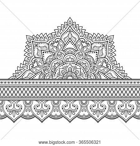 Seamless Borders With Mandala For Design, Application Of Henna, Mehndi And Tattoo. Decorative Patter