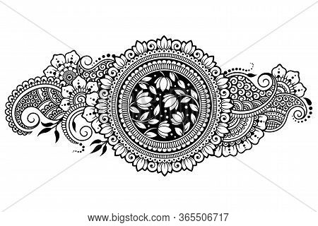 Lotus Mehndi Flower Pattern For Henna Drawing And Tattoo. Decoration In Oriental, Indian Style. Dood
