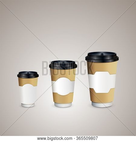 3 Coffee Cups Mock-up With Brown Holder On Brown Background. Cups Of Different Size. Mock Up. Coffee