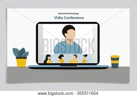Video Conference. People Group On Computer Screen Taking With Colleague. Video Conferencing And Onli