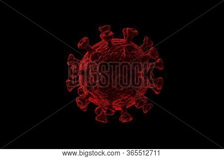 An Illustration Showing The Structure Of An Epidemic Virus. 3d Rendering Of A Coronavirus On A Black