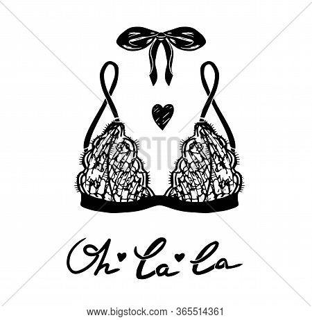 Vector Lingerie Illustration. Vector Underwear Bra Design. Outline Hand Drawn Illustration. Elegance