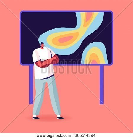 Meteorological Report Concept. Tv Presenter Male Character Stand At Screen With Meteorology Map Fore