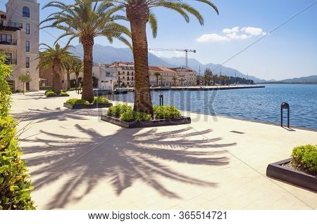 Tivat, Montenegro. May 05 2020  / View Of Embankment Of Tivat City After Weakening Of Quarantine Cov